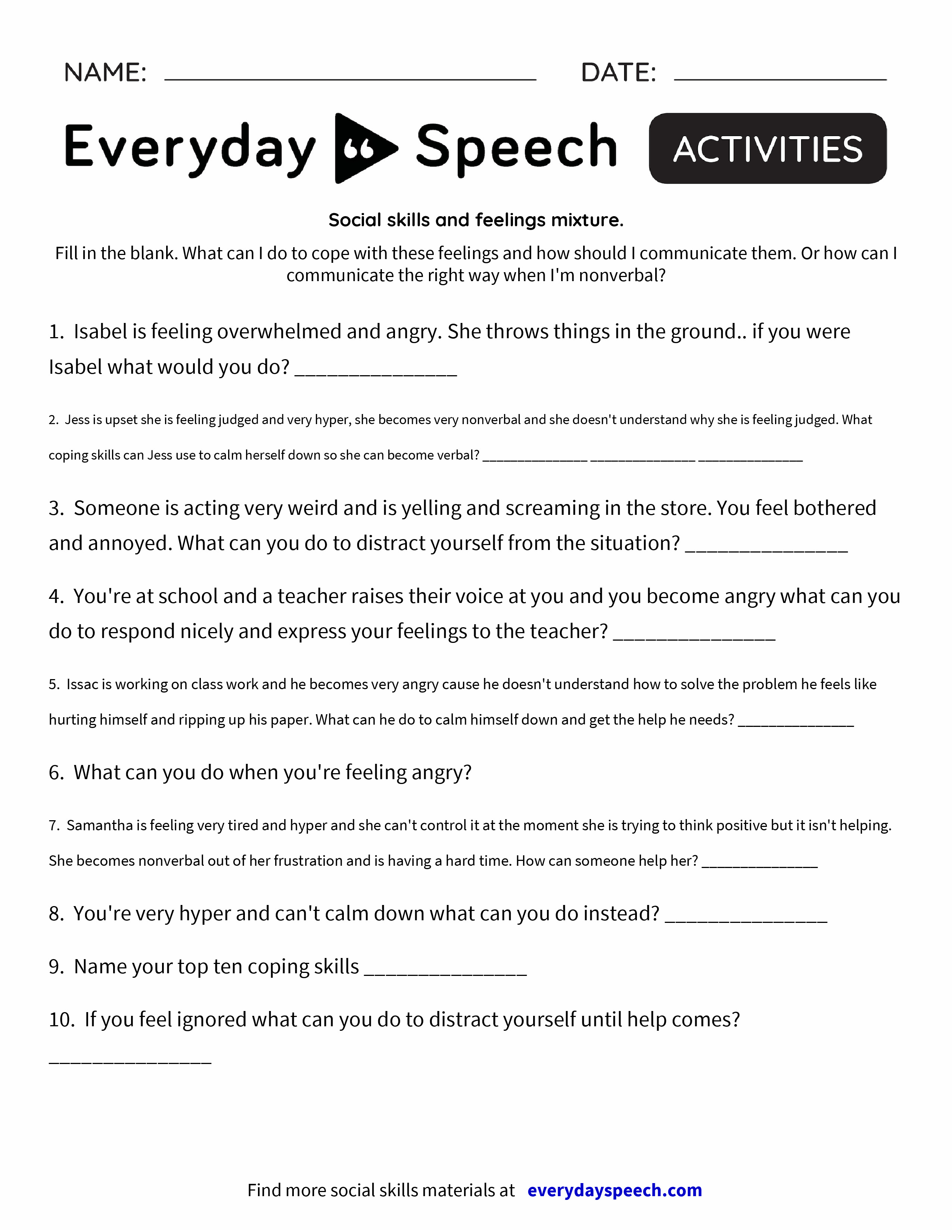 Social skills and feelings mixture Everyday Speech Everyday – Mixture Worksheet