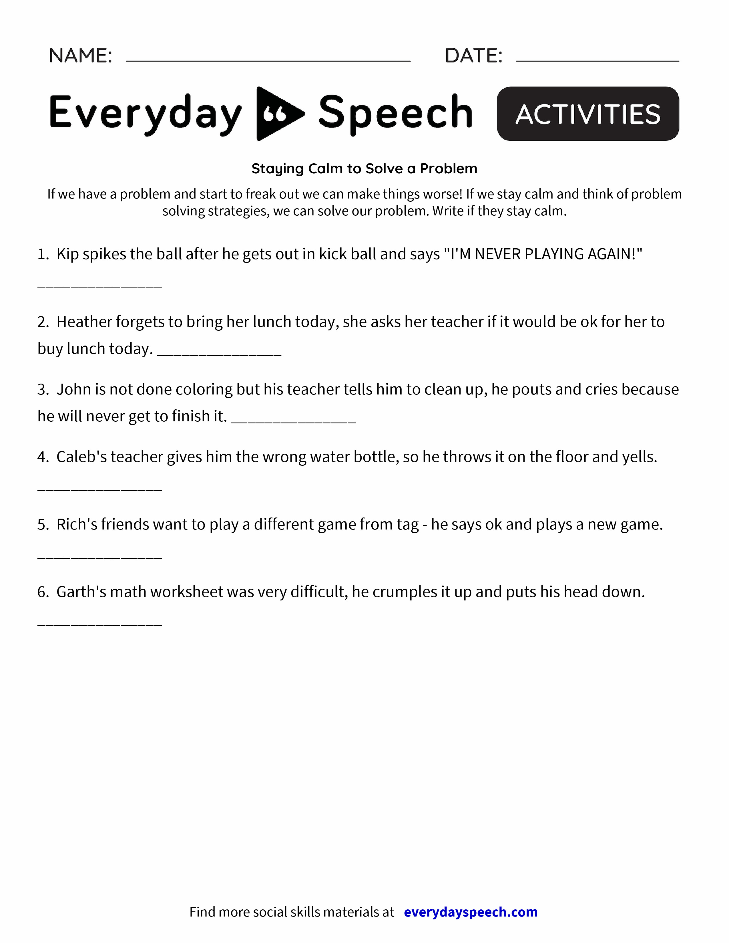 Staying Calm to Solve a Problem Everyday Speech Everyday Speech – Head Start Worksheets