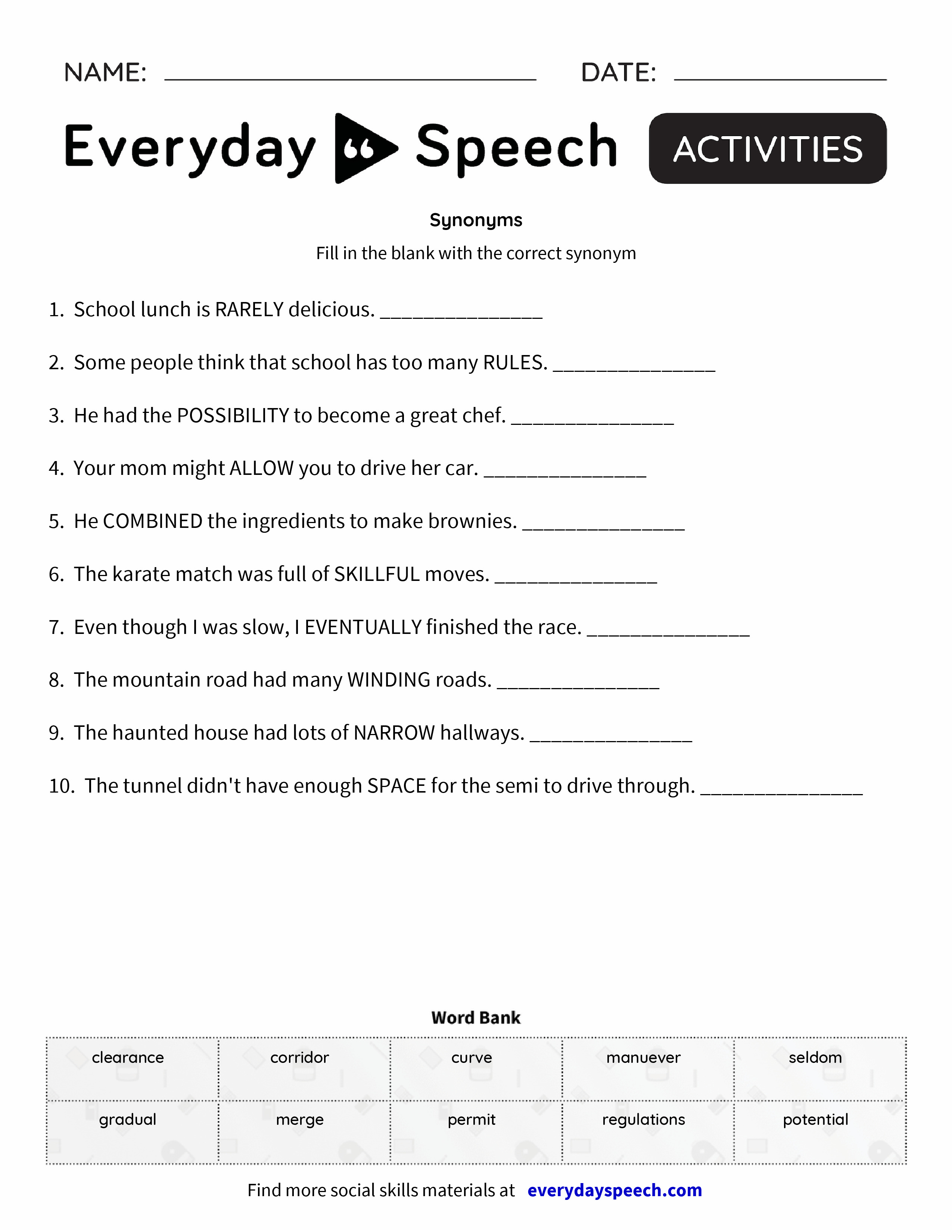 Synonyms Everyday Speech Everyday Speech