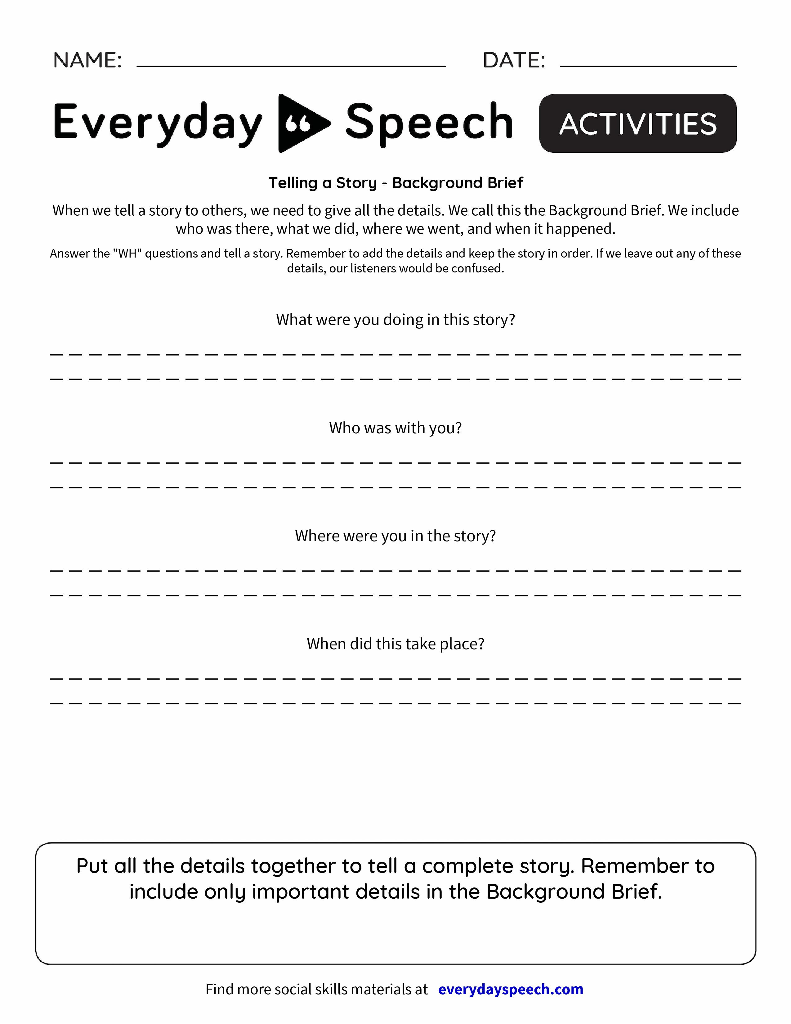 Telling a Story - Background Brief - Everyday Speech - Everyday Speech