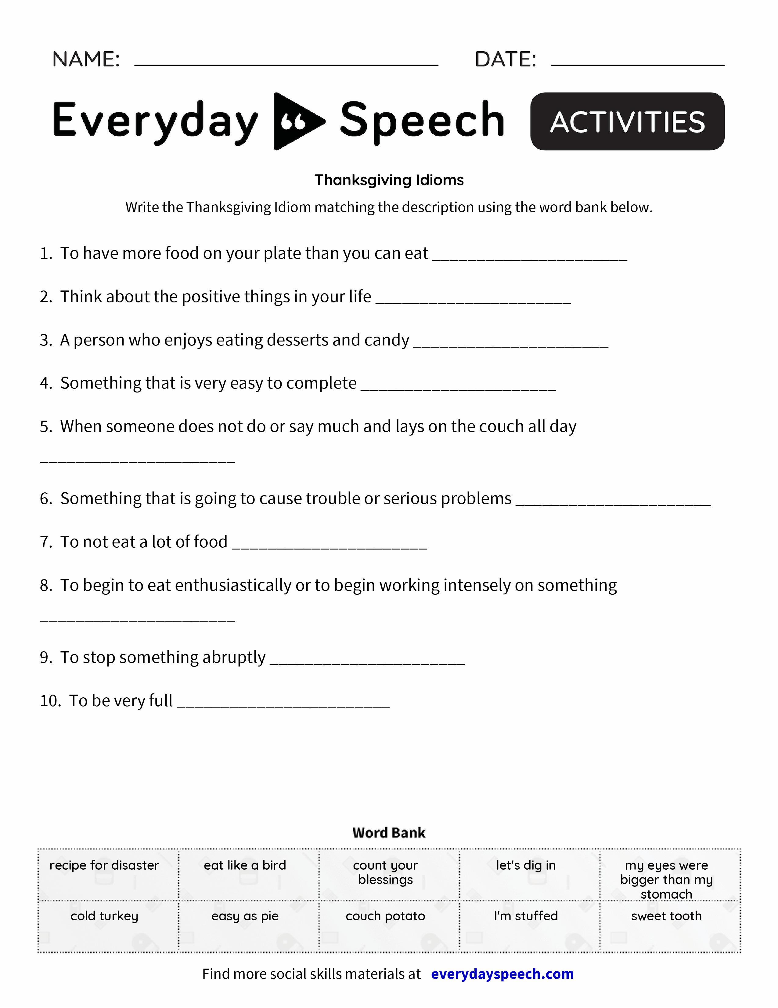 Uncategorized Idiom Worksheets Pdf thanksgiving idioms everyday speech idioms