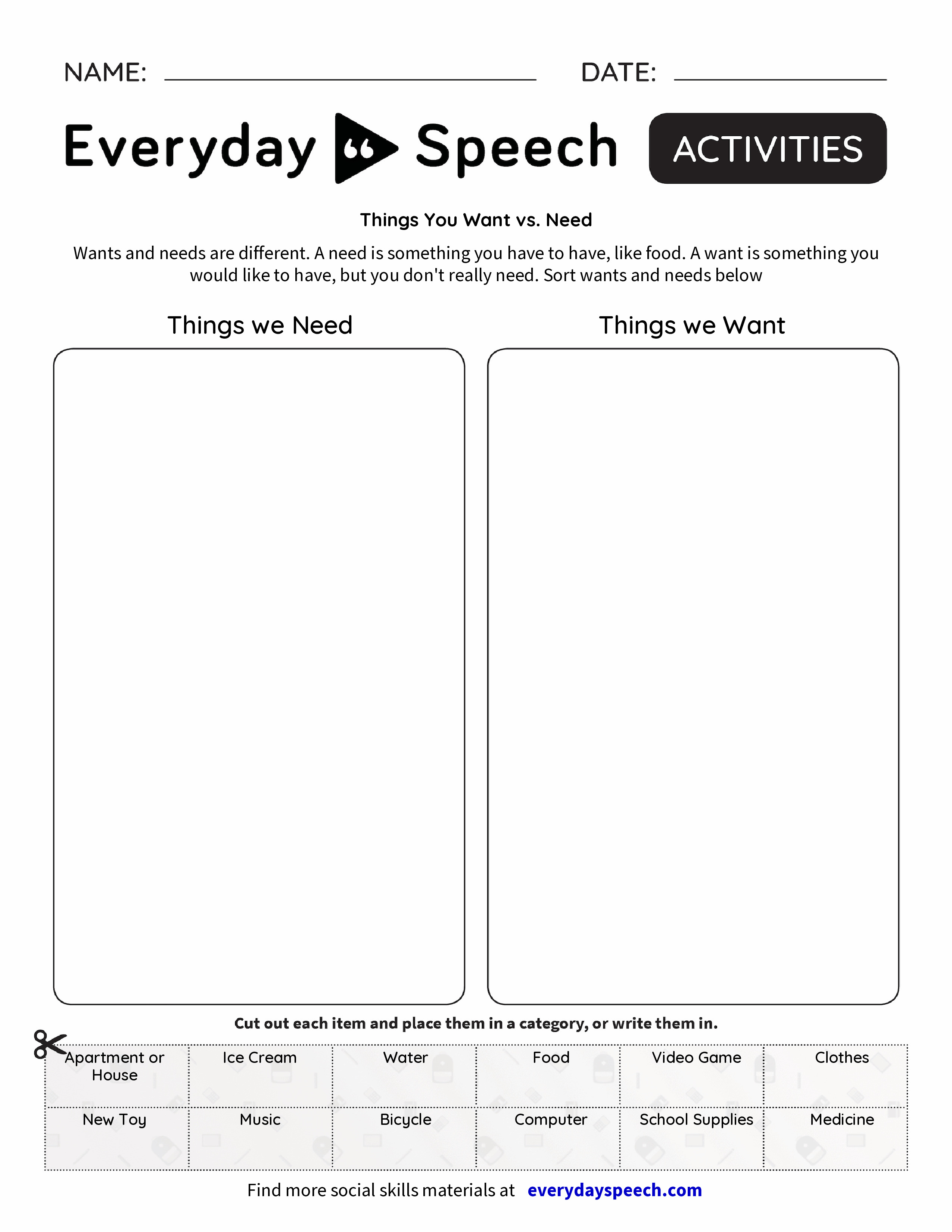 Things You Want Vs Need Everyday Speech Everyday Speech