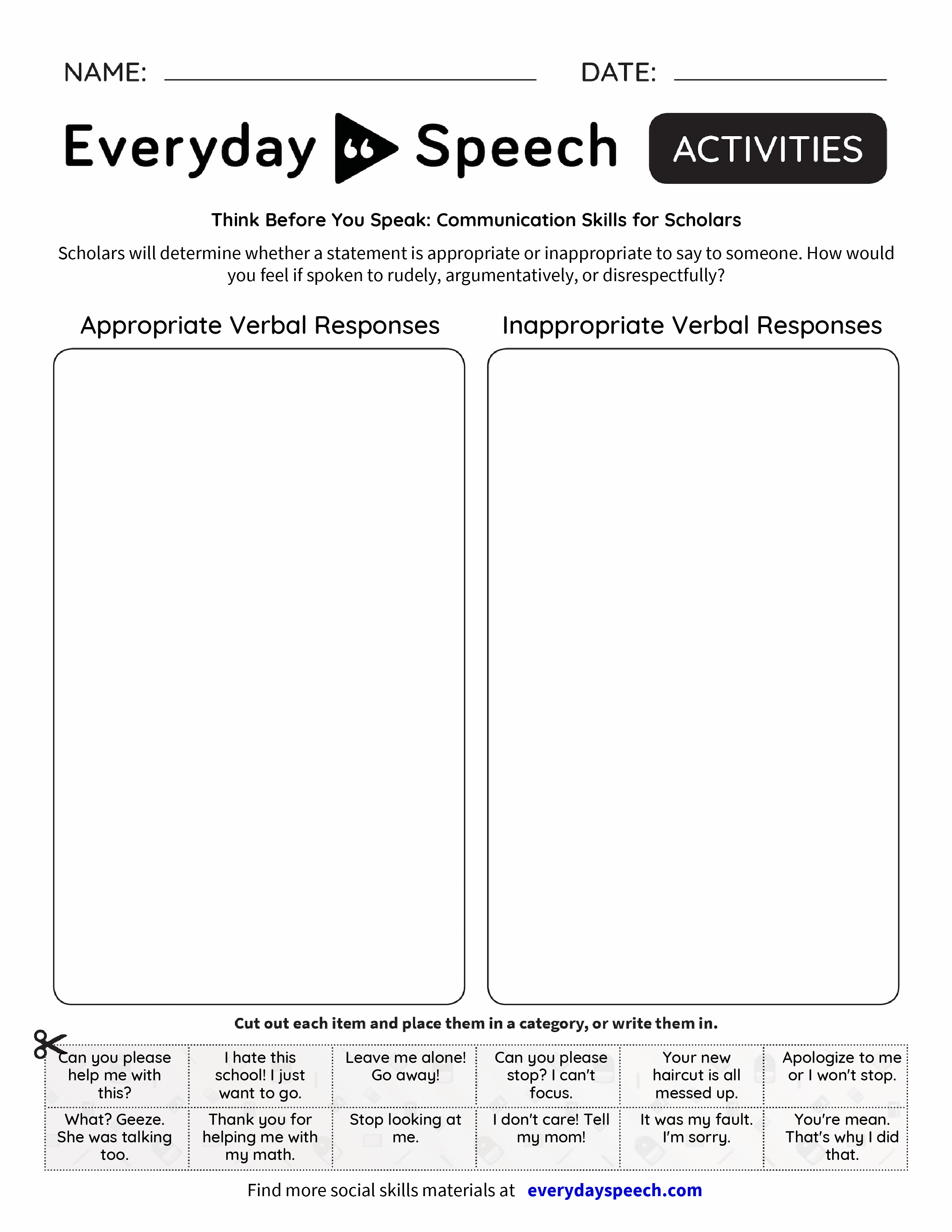 Think Before You Speak Communication Skills for Scholars – Communication Skills Worksheet