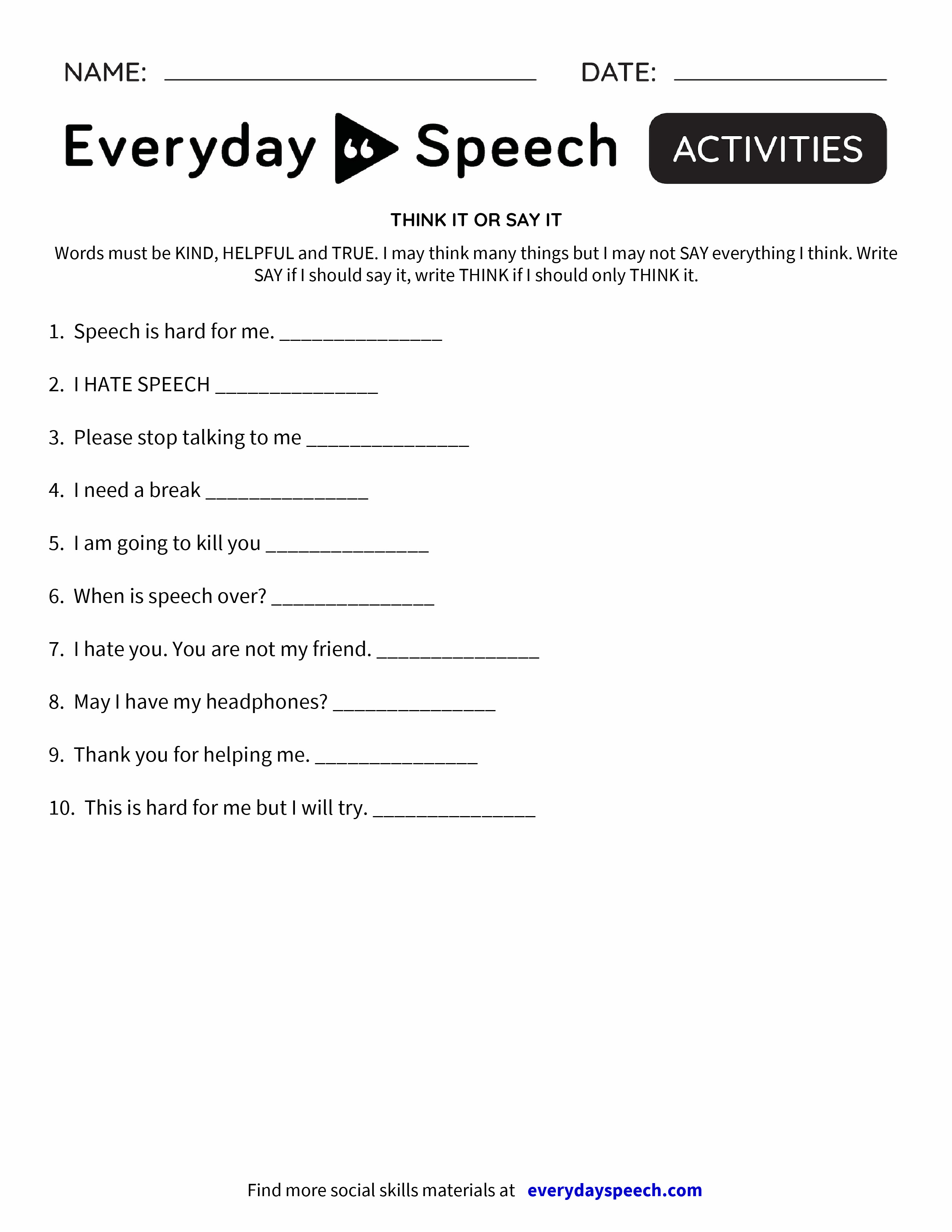 worksheet Stop And Think Worksheets think it or say everyday speech preview