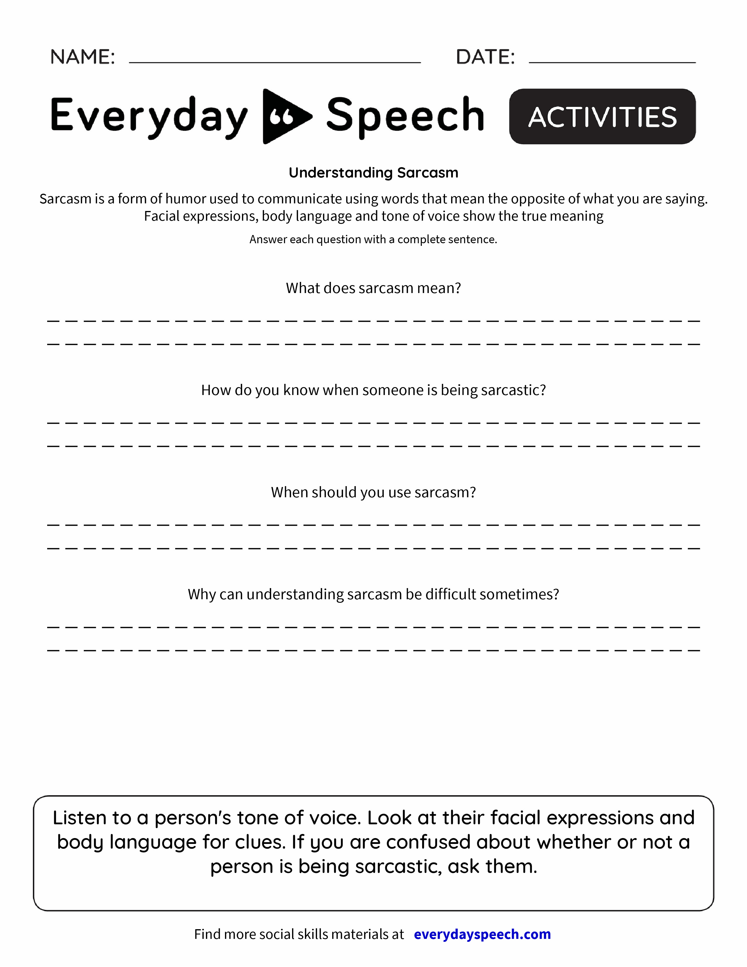 Worksheets Tone Worksheets understanding sarcasm everyday speech preview