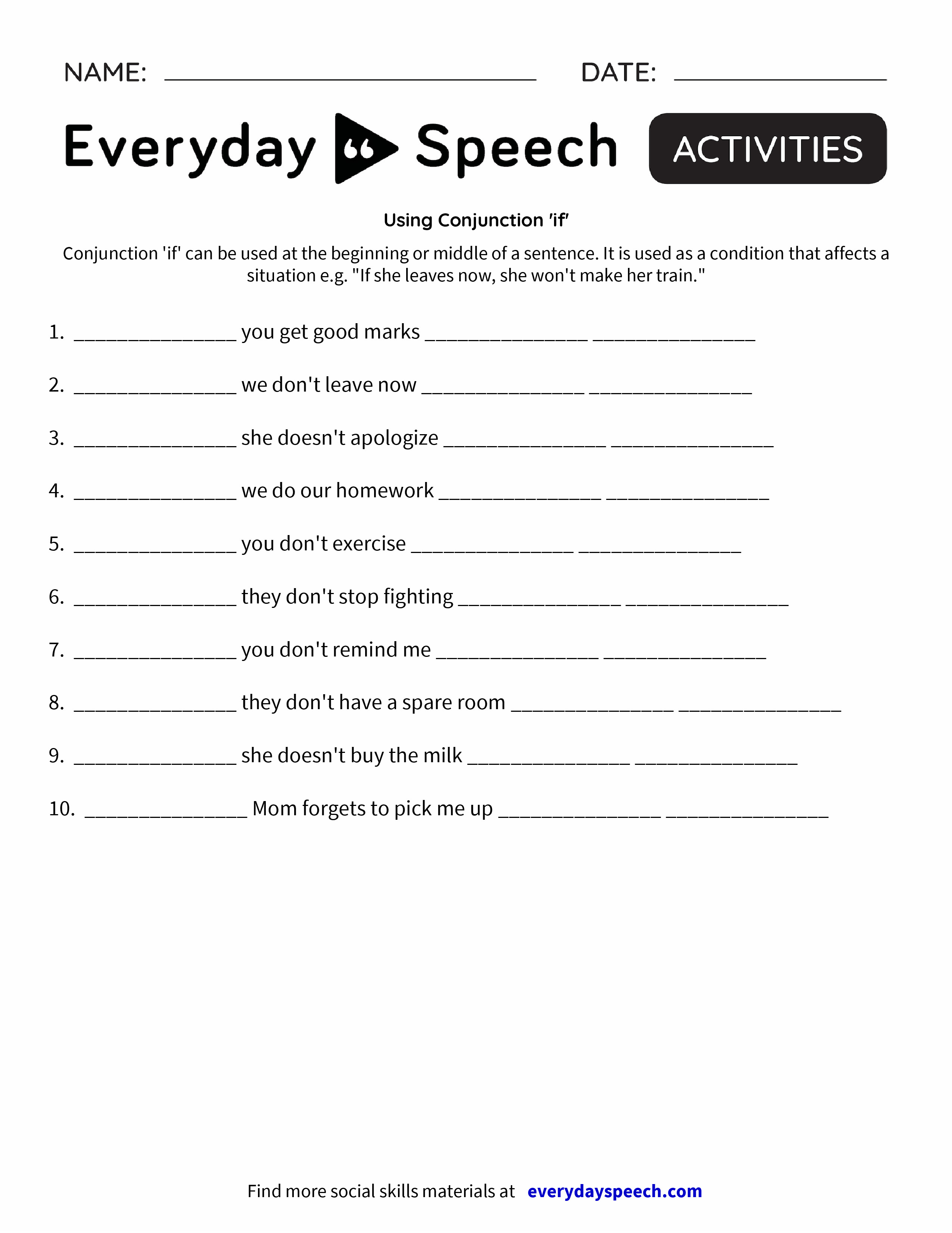 Using Conjunction if Everyday Speech Everyday Speech – Conjunction Worksheets
