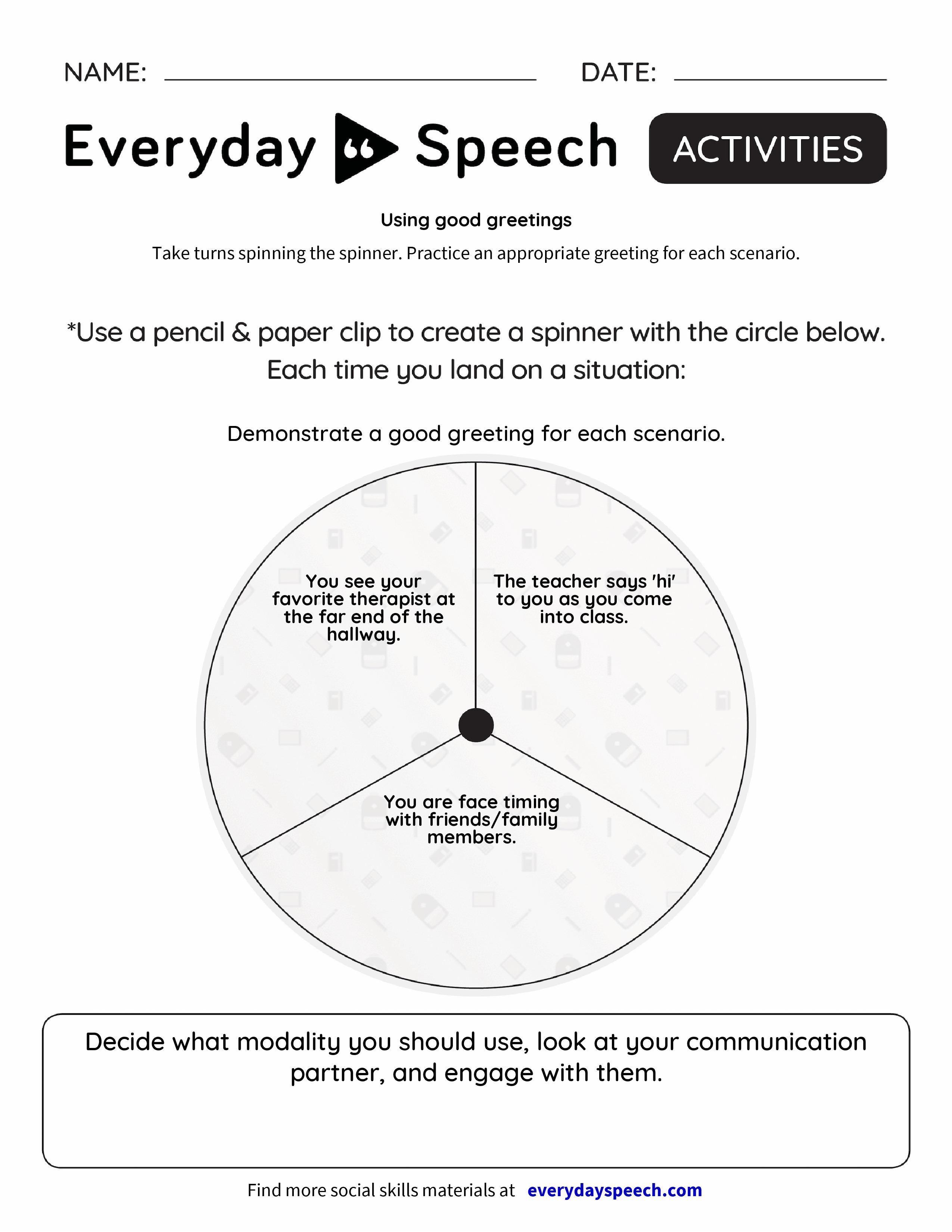 Using Good Greetings Everyday Speech Everyday Speech