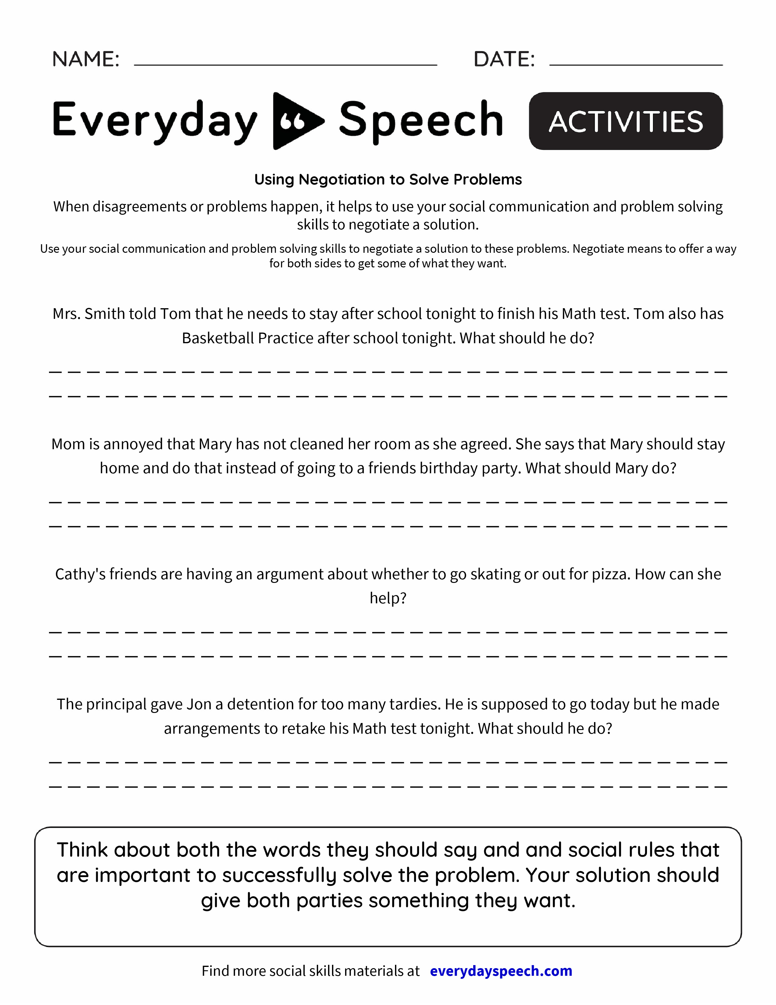 Worksheets Social Skills Problem Solving Worksheets using negotiation to solve problems everyday speech preview preview