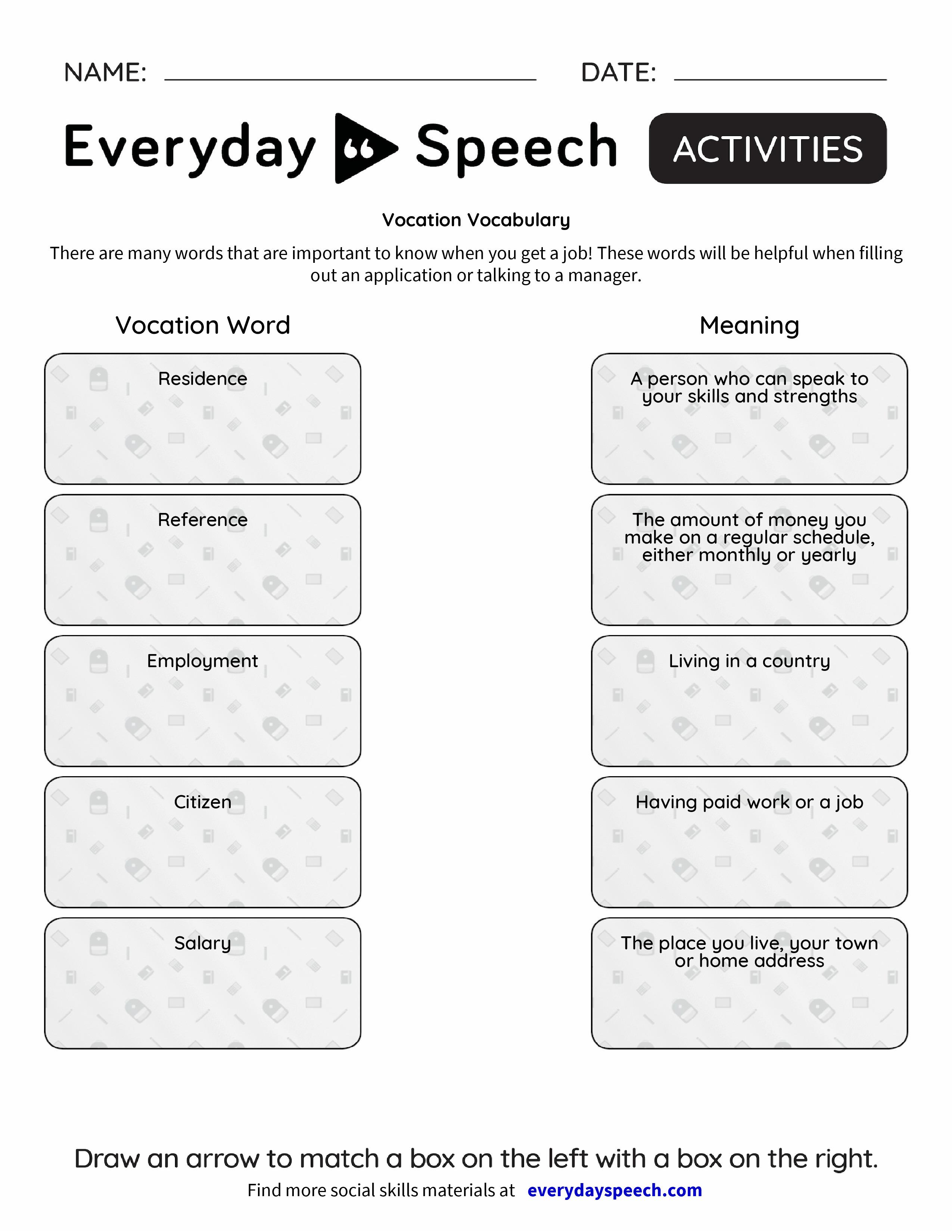Vocation Vocabulary Everyday Speech Everyday Speech – Vocabulary Matching Worksheet