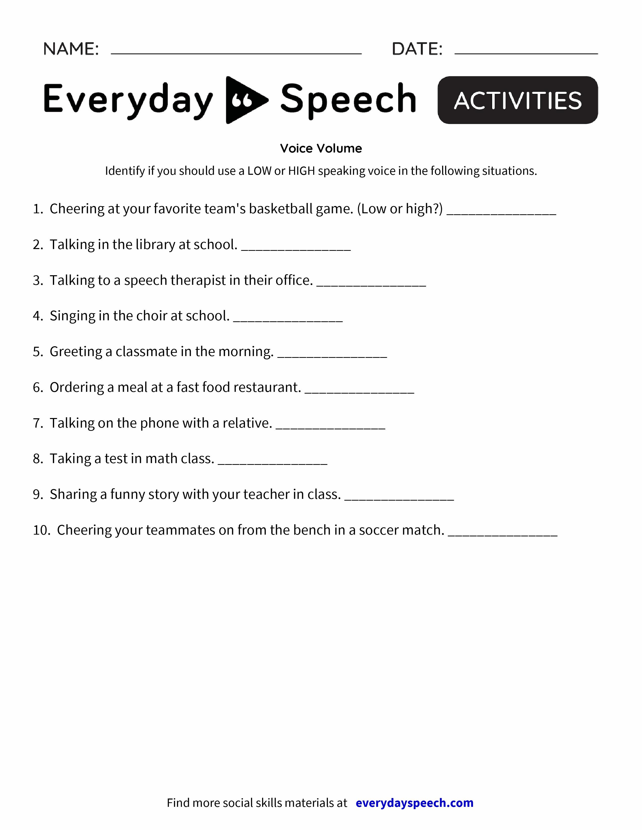 Voice Volume Everyday Speech Everyday Speech