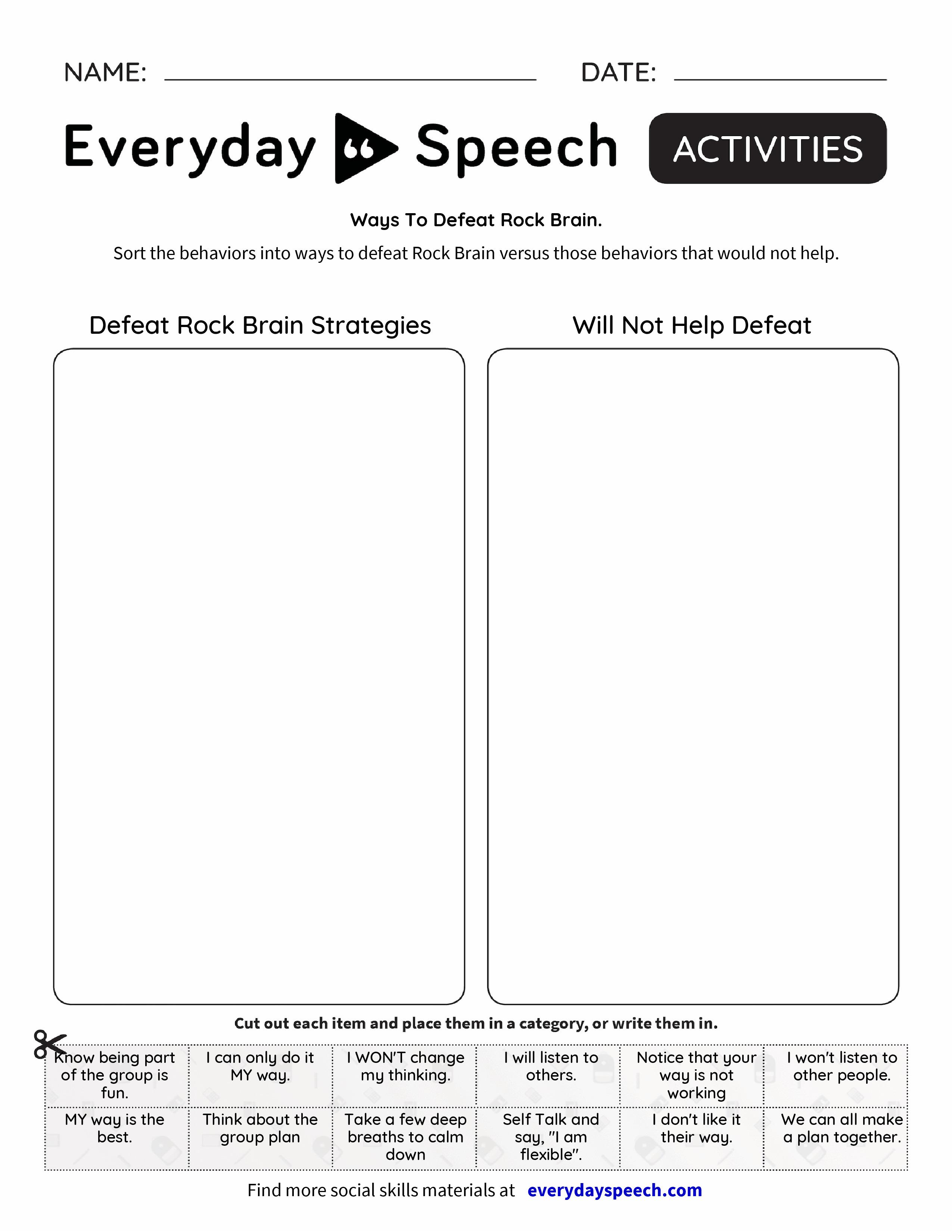 Ways To Defeat Rock Brain Everyday Speech Everyday Speech – Brain Worksheets