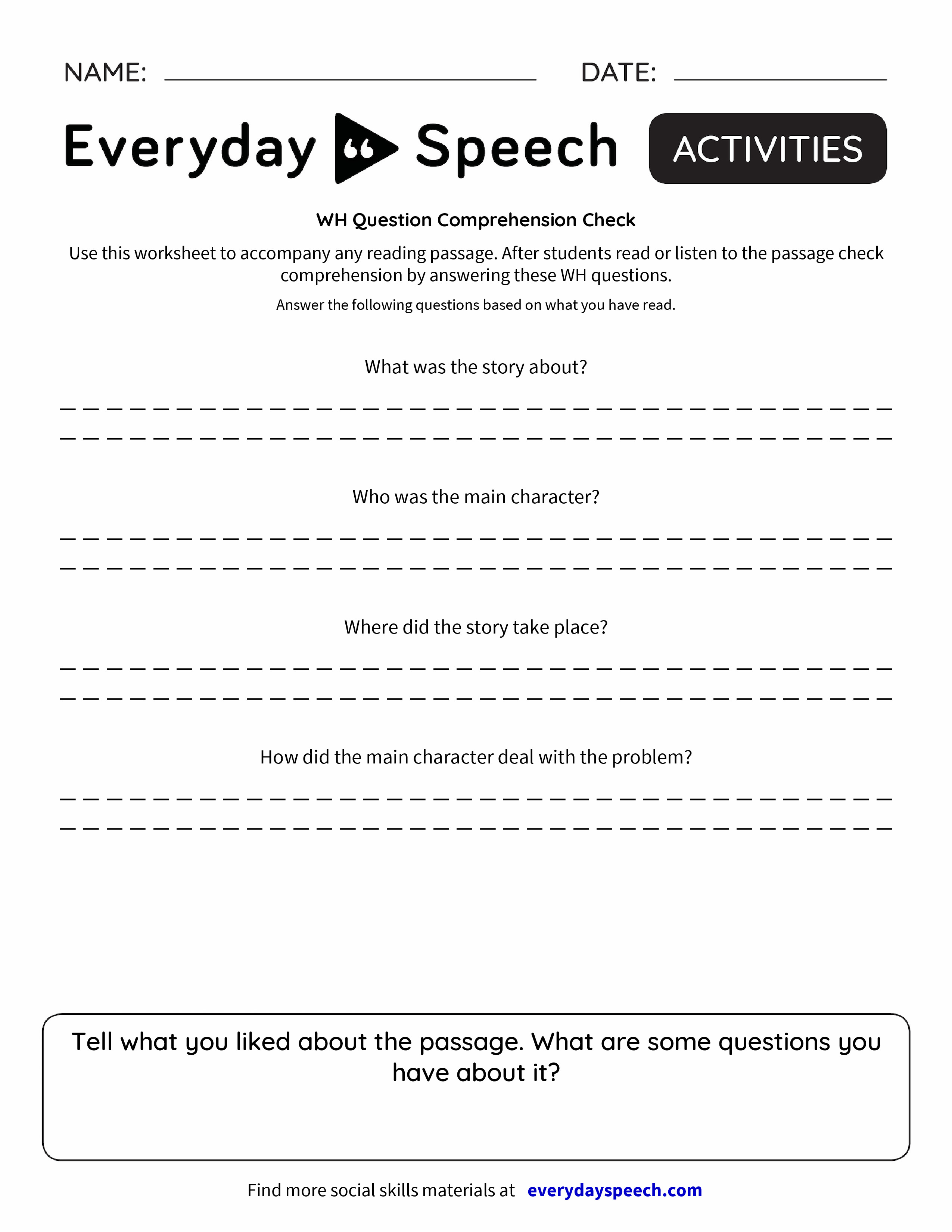 Worksheet Comprehension Check Worksheets wh question comprehension check everyday speech check