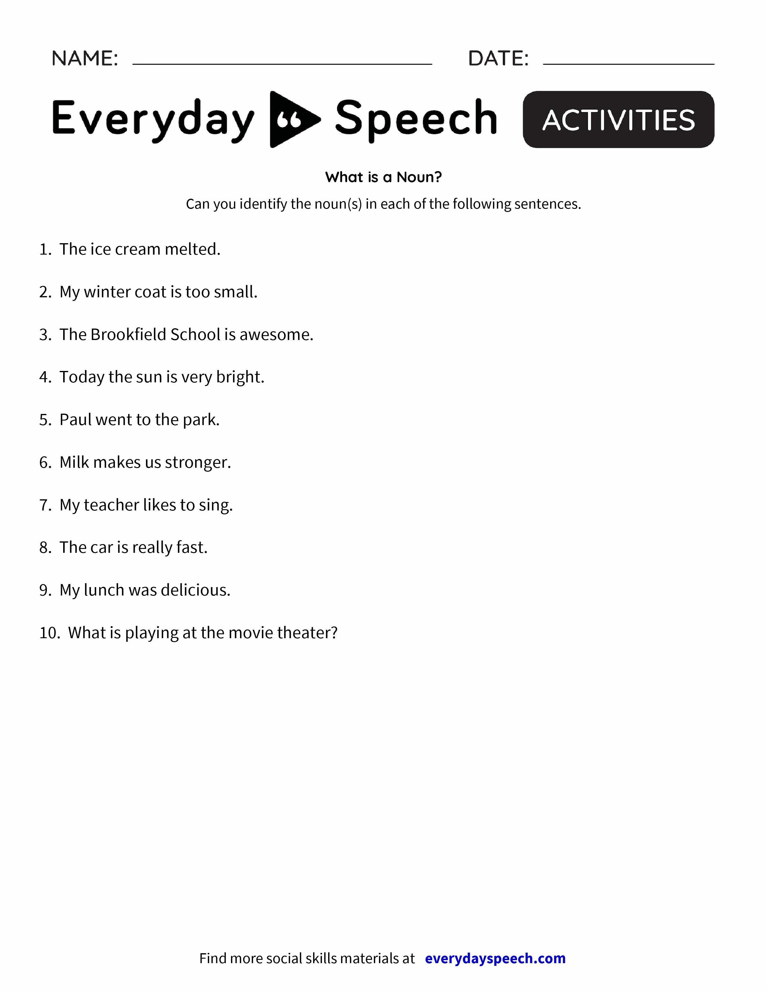 What is a Noun Everyday Speech Everyday Speech – What is a Worksheet