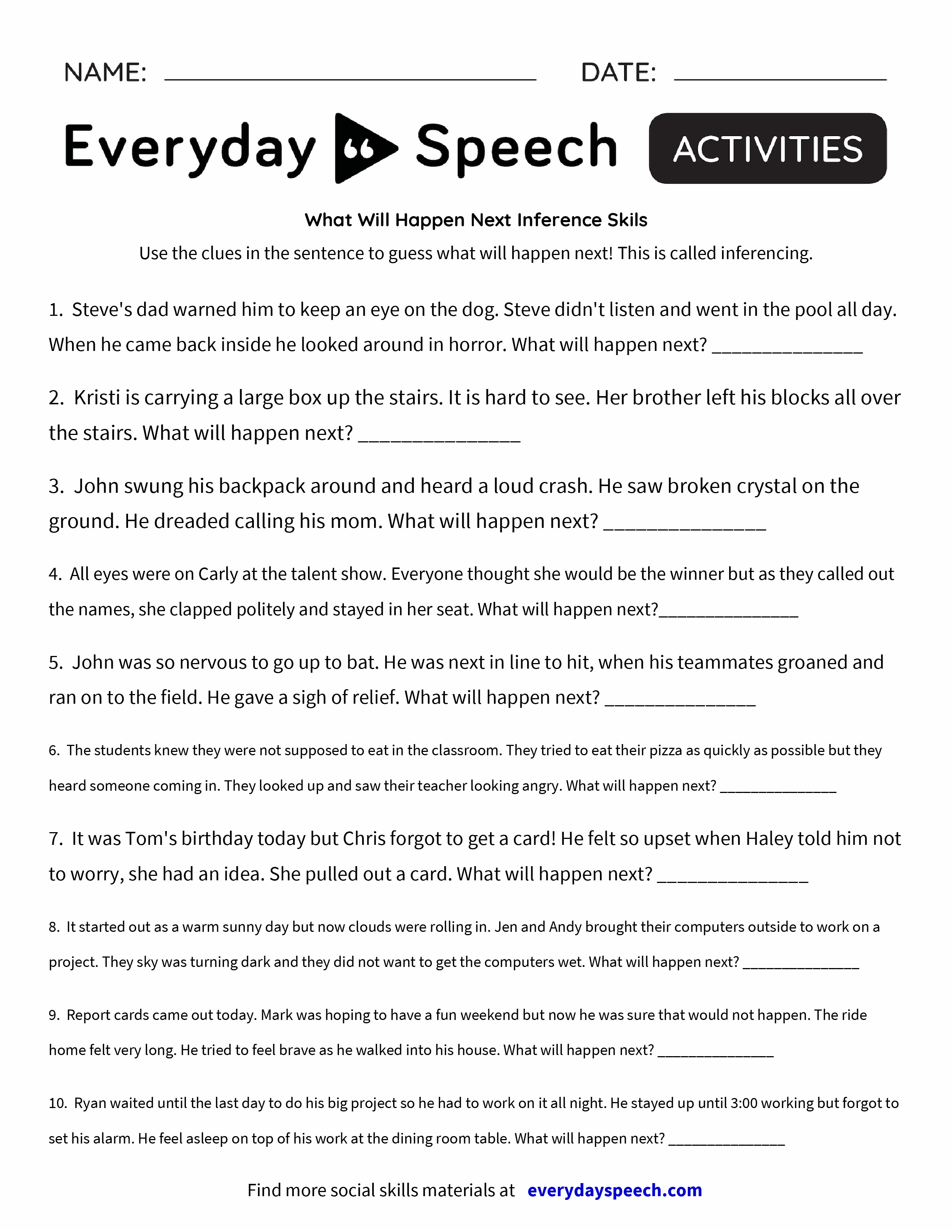 Uncategorized Inferencing Worksheet what will happen next inference skils everyday speech skils