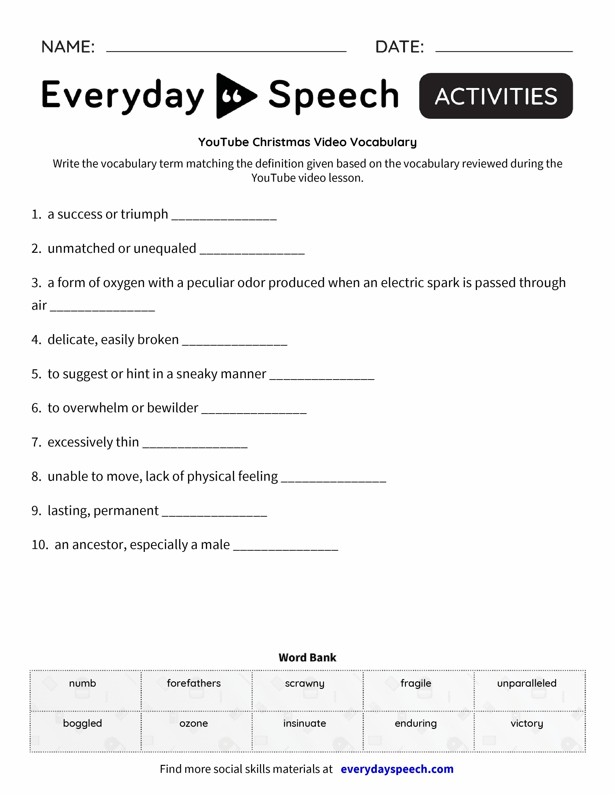 YouTube Christmas Video Vocabulary - Everyday Speech - Everyday Speech