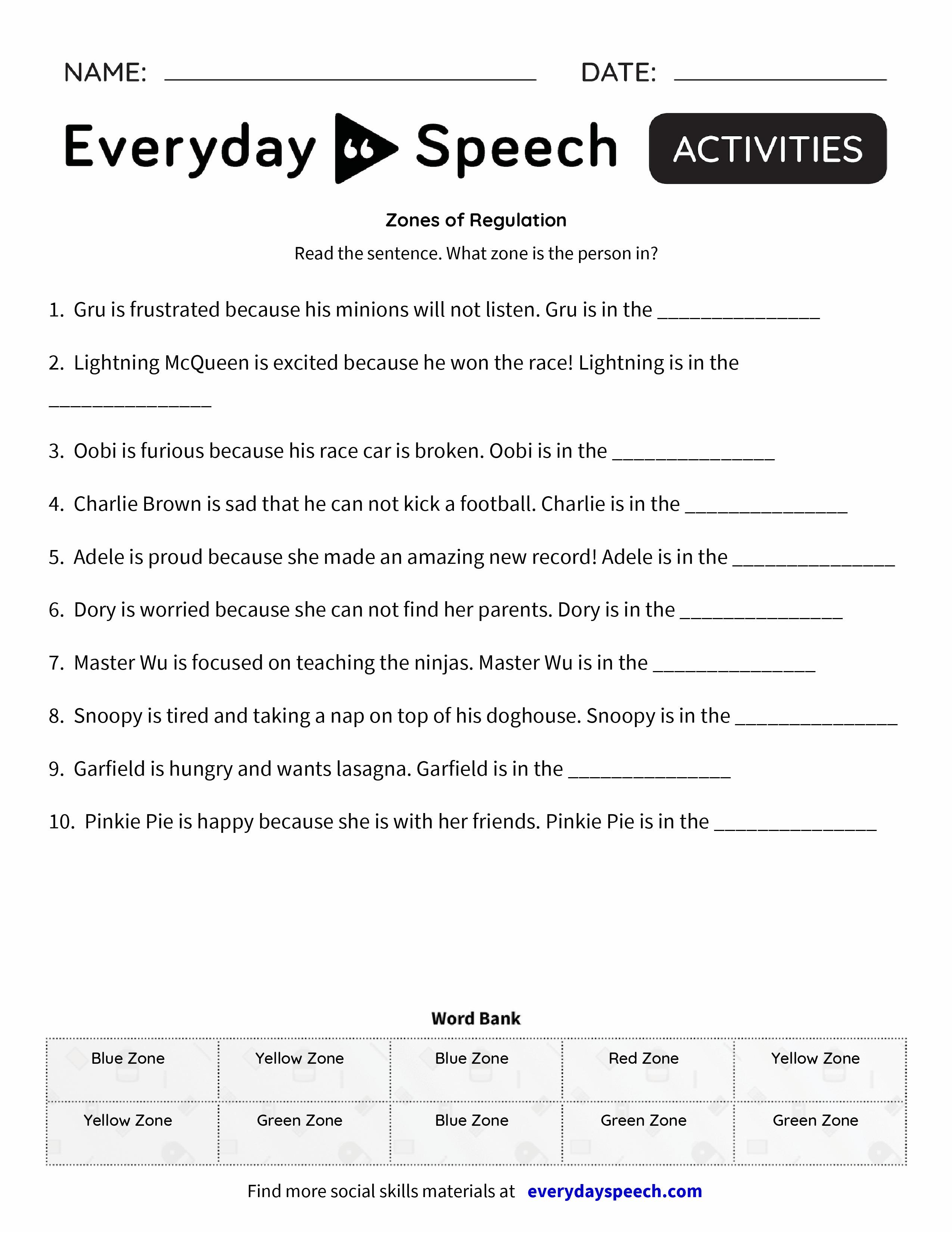 worksheet Emotion Regulation Worksheet Pdf zones of regulation everyday speech preview