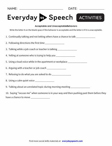 Worksheets Everyday Speech Everyday Speech