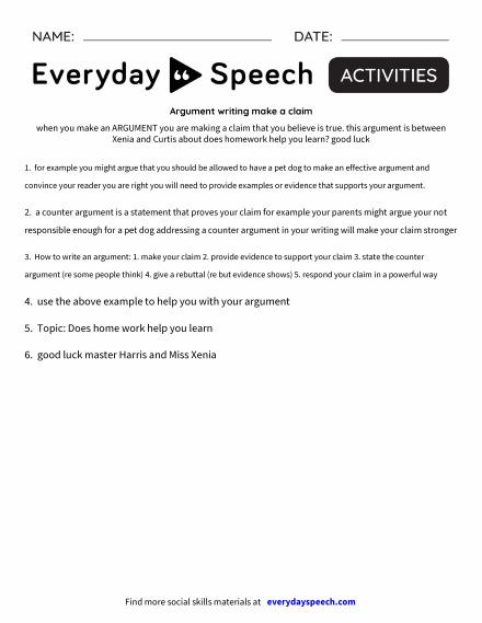 Argument writing make a claim