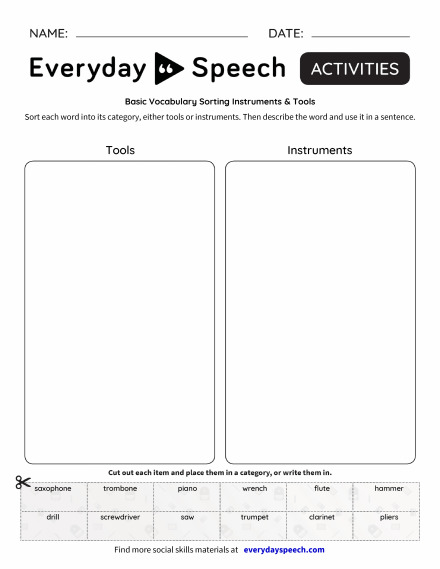 Basic Vocabulary Sorting Instruments & Tools