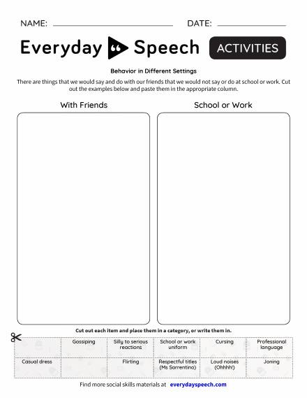 Most Viewed Worksheets Everyday Speech Everyday Speech