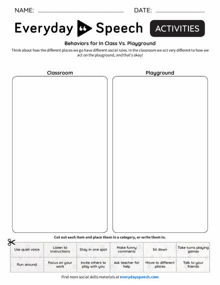 Behaviors for In Class Vs. Playground