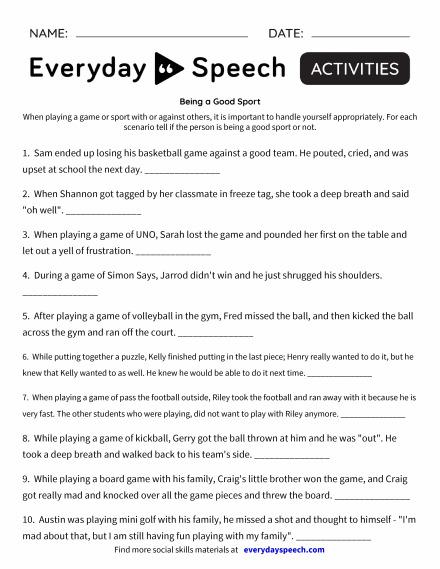 Most Downloaded Worksheets | Everyday Speech - Everyday Speech