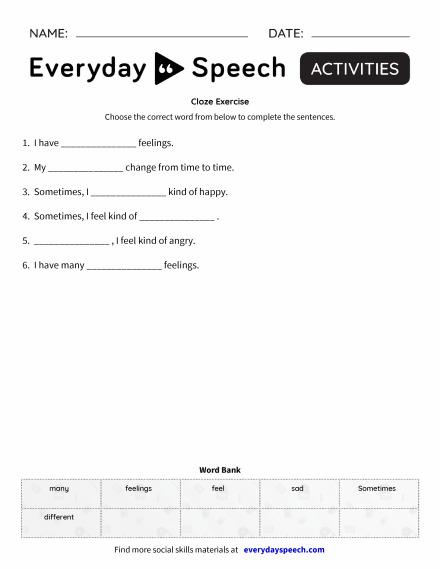 Trending Worksheets Everyday Speech Everyday Speech