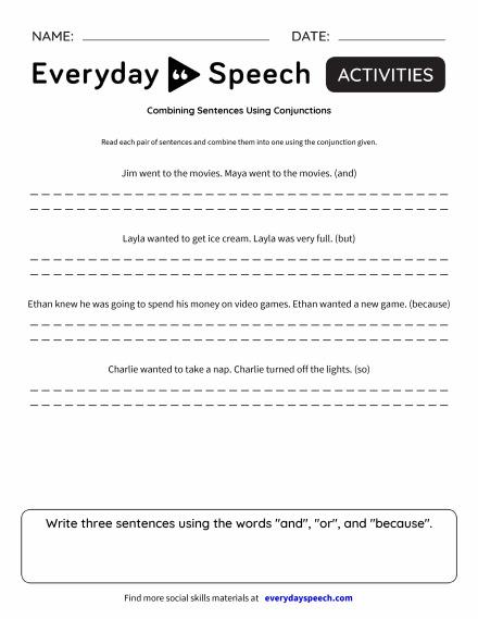combining sentences using conjunctions - Combining Sentences Worksheet