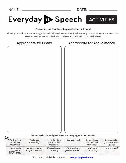 Conversation Starters-Acquaintance vs. Friend