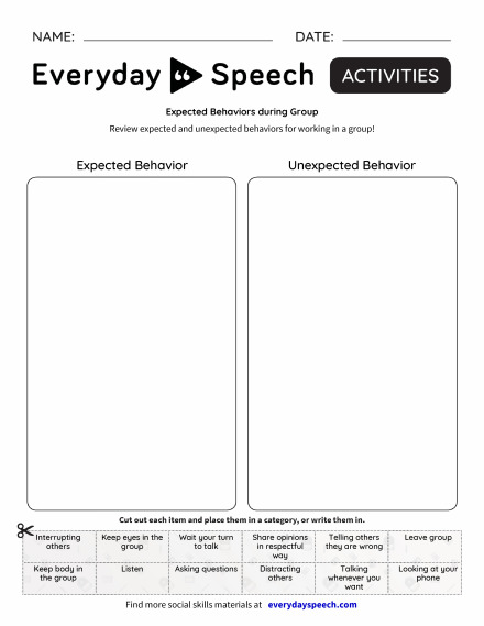 Expected Behaviors during Group