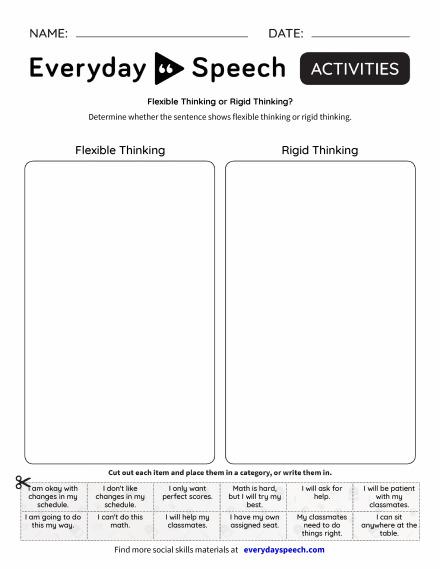 Flexible Thinking or Rigid Thinking?