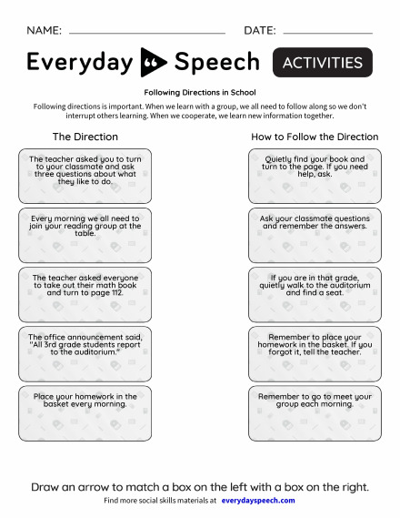 Following Directions in School