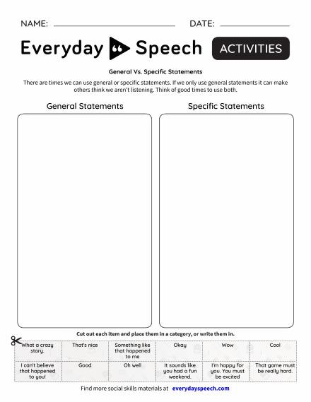 Newest Worksheets | Everyday Speech - Everyday Speech