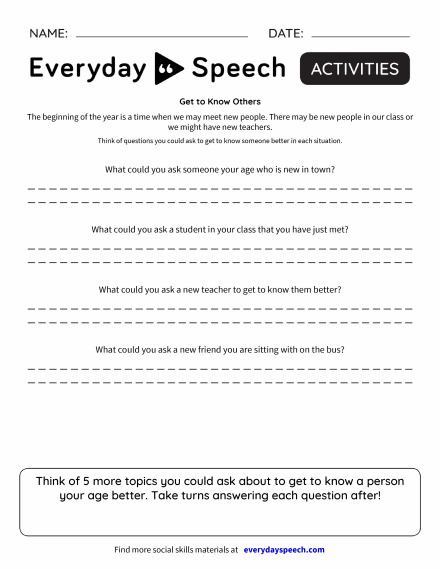 200 Most Downloaded Worksheets | Everyday Speech - Everyday Speech