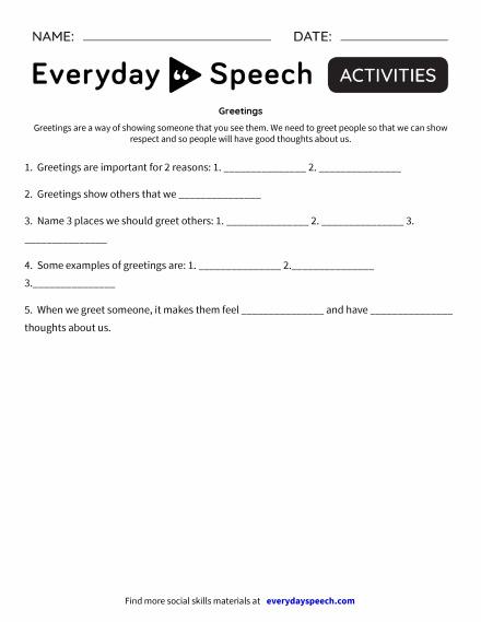 Trending worksheets everyday speech everyday speech greetings m4hsunfo