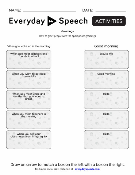 Most viewed worksheets everyday speech everyday speech greetings m4hsunfo