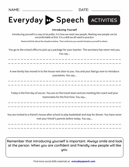 Most Viewed Worksheets | Everyday Speech - Everyday Speech