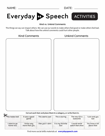 Kind Vs. Unkind Comments