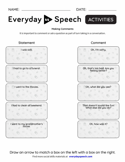 Worksheets | Everyday Speech - Everyday Speech