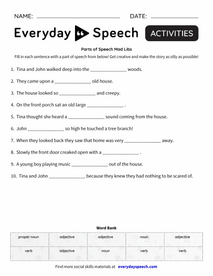 Parts of Speech Mad Libs