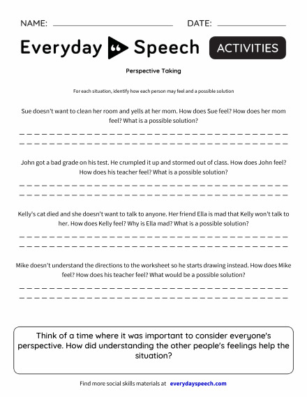 Worksheets everyday speech everyday speech perspective taking solutioingenieria Image collections
