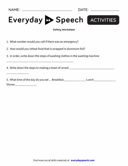 Safety Worksheet