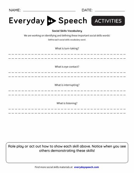 Social Skills Vocabulary