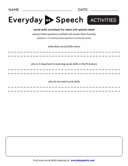 social skills worksheet for teens with special needs