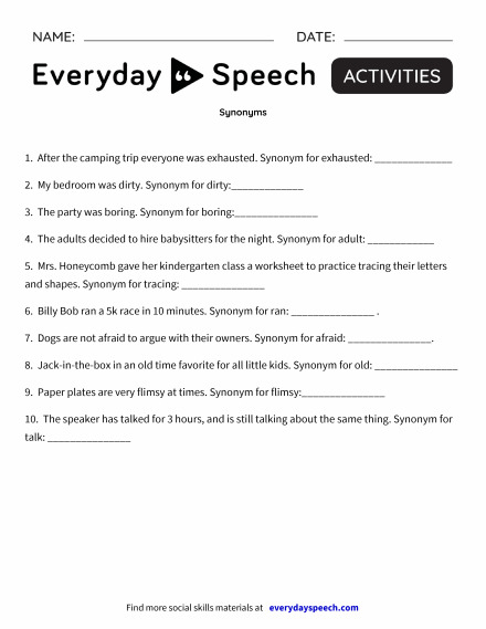 most viewed worksheets  everyday speech  everyday speech synonyms