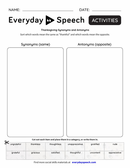 Thanksgiving Synonyms and Antonyms