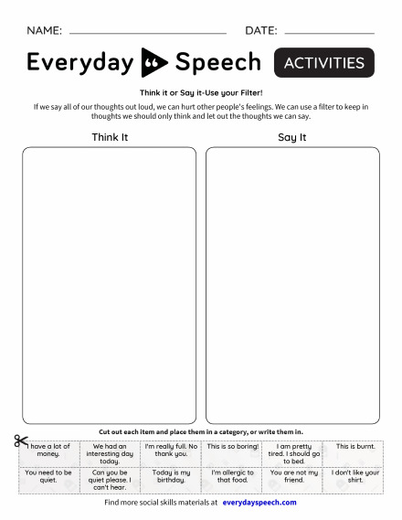 Worksheets | Everyday Speech - Everyday Speech
