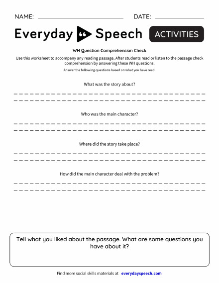 WH Question Comprehension Check