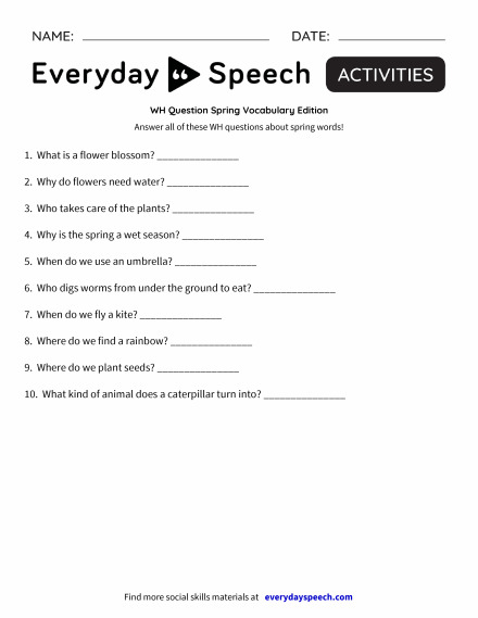 WH Question Spring Vocabulary Edition