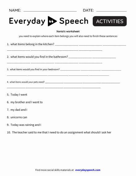 Xenia's worksheet